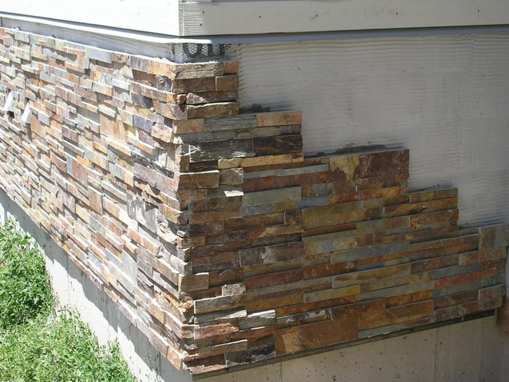 Veneer stone exterior wall cover up